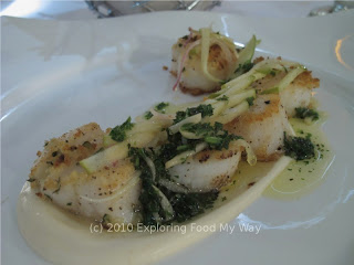 Seared Scallops over Celery Root Puree