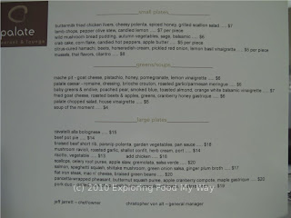 Palate Restaurant's Dinner Menu