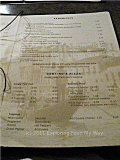 Dontino's Dinner Menu Page 3