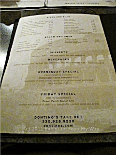 Dontino's Dinner Menu Page 4