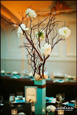 Crystal Tree Centerpieces With Manzanita Branches