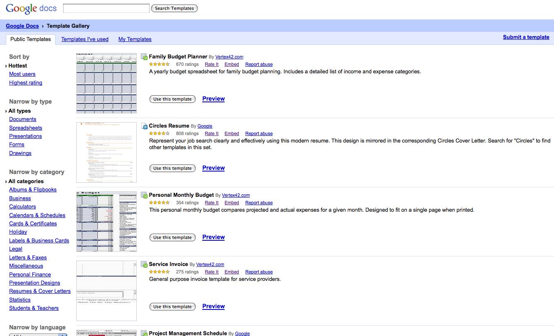 google doc budget template