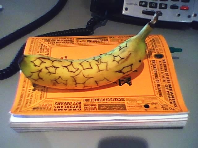 "Thanks to Laura for this banana inspired by ""This Book Will Change Your Life"