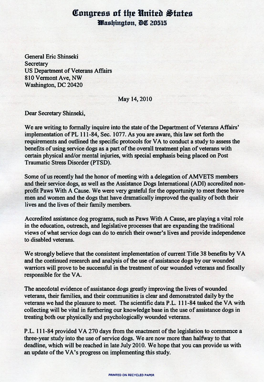 amvets sends congressional letter to va on service dogs