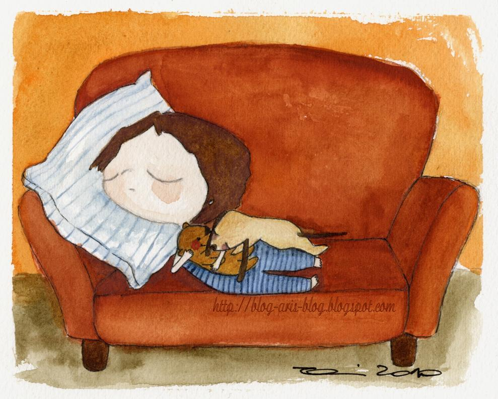 Watercolor bear sofa sleeping children s art illustration add a tag