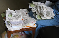 Piles of receipts