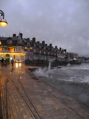 Swanage seafront at dusk