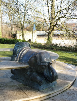 Bronze elephant, part of a stone seat in Jephson Gardens