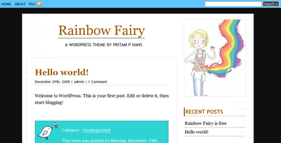 Rainbow Fairy: Free Wordpress theme