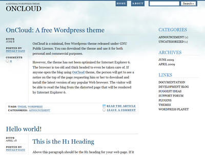 OnCloud, Free Wordpress theme