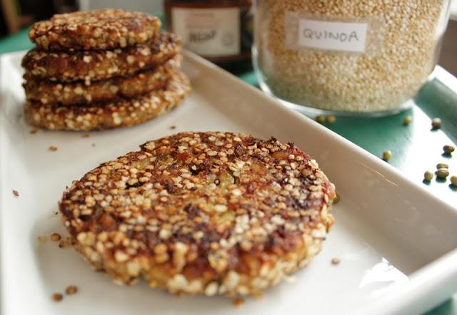 Oppskrift Mungbønner Mungbønneburger Vegetarburger Veganmat Quinoa Miso