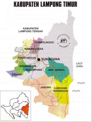 Peta Lampung Kota Timur/Lamtim