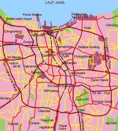 Peta Jalan Kota Jakarta Ukuran Besar
