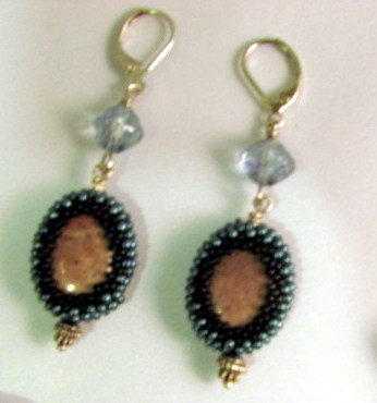 Bezeled Agate earrings