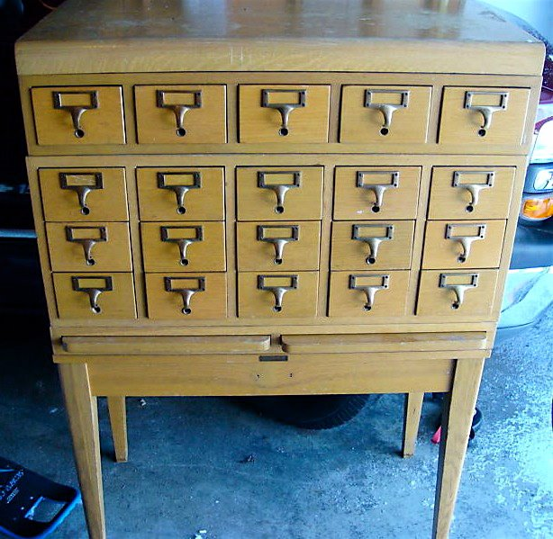 VINTAGE ANTIQUE REPRODUCTION FILE CABINET LARGE CARD BRASS FRAME