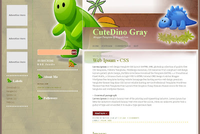 Cute Dino Blogger Template
