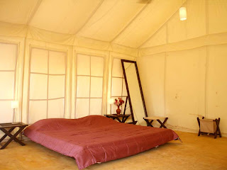 Interiors of tents at Prakruti farms