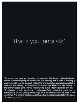 O&M ad, thank you terrorists