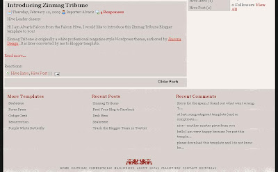 Footer of Zinmag Tribune Blogger Template