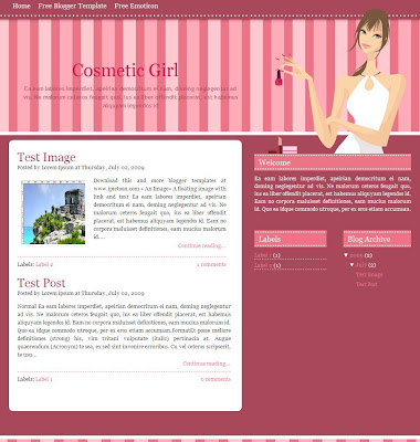 Cosmetic Girl Blogger Template