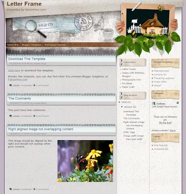 Letter Frame Blogger Theme