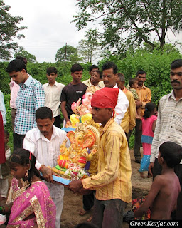 taking Ganapati idol for immersion