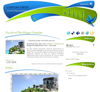 Chinese Drop free blog template