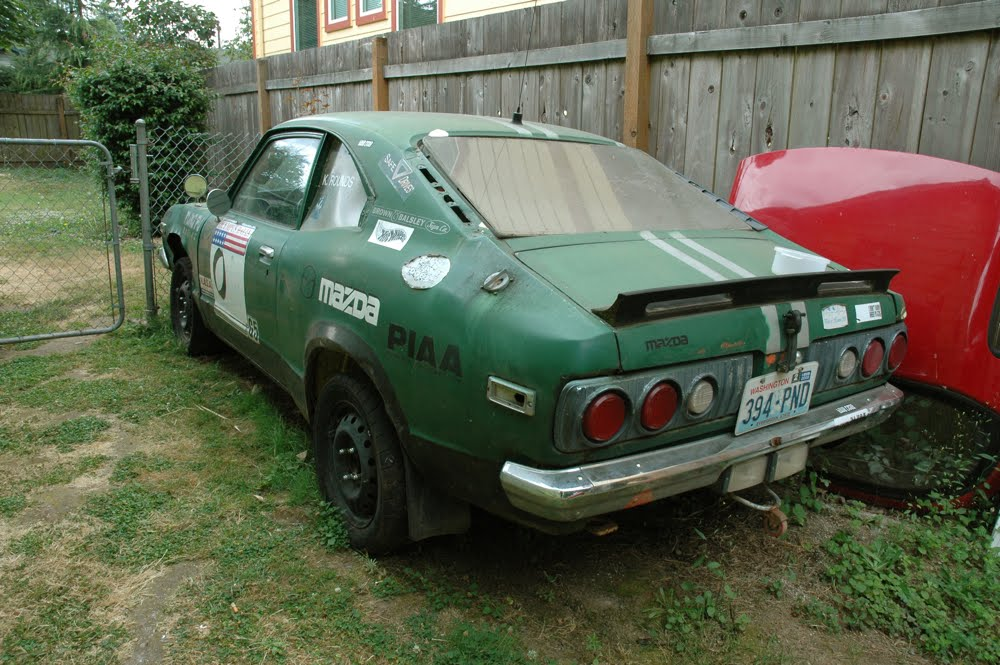 OLD PARKED CARS.: 1973 Mazda RX-3 Rally Car.