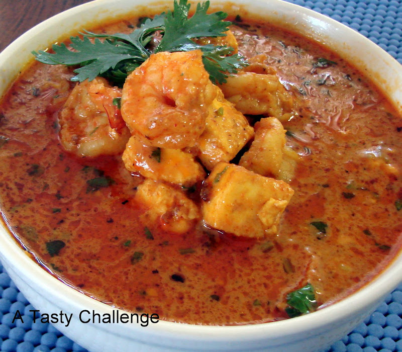 Paneer and Shrimp in Yogurt Sauce