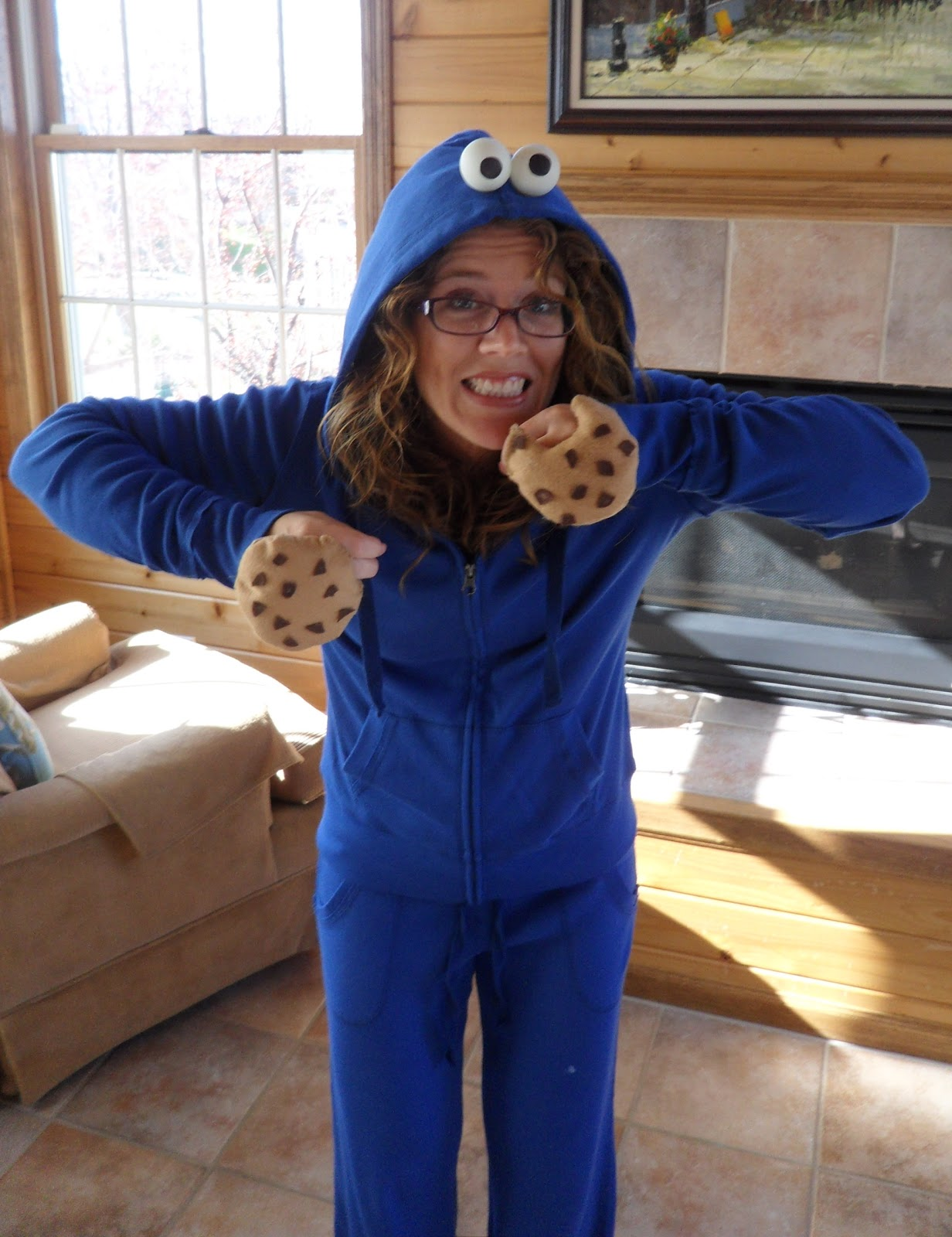 picture of my very simple  very homemade Cookie Monster costumeHomemade Cookie Monster Halloween Costume
