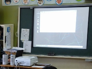 教室の黒板にプロジェクタを使って操作画面を表示している写真