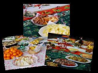テーブルに並ぶ料理の写真