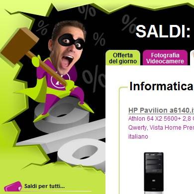 Esempio di web design per siti e commerce con saldi e for Siti di design