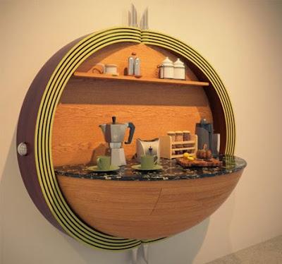 vuoi realizzare una cucina compatta? Ecco una idea molto interessante per un arredamento creativo nella tua cucina.