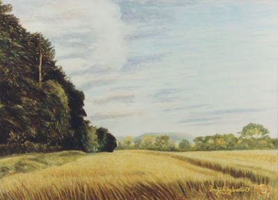 Edge of Poole Wood Grey Towers Nunthorpe painting in oil pastel by Ingrid Sylvestre North East artist Durham artists UK