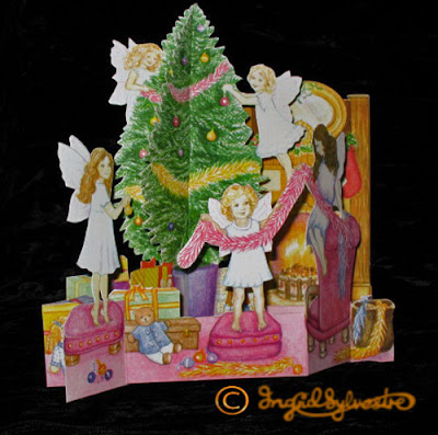 3D Pop up Christmas Cards by UK Artist Ingrid Sylvestre Printed on quality card and die cut to fully pop up - Fairy Tree