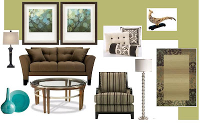 Living Room: Green Walls Brown Sofa