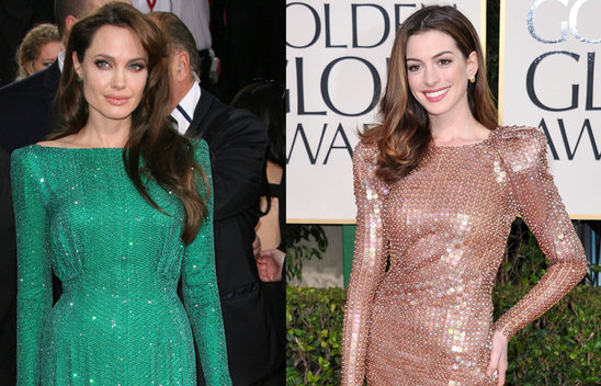 Angelina Golden Globes Green Dress. Angelina VS Anne Hathaway