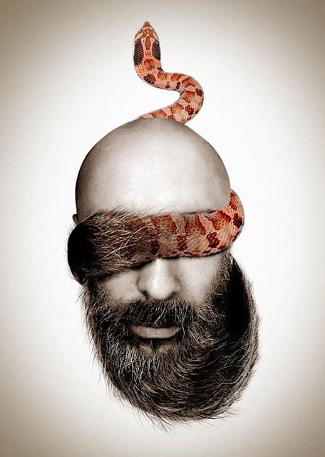 barba que se transforma en serpiente