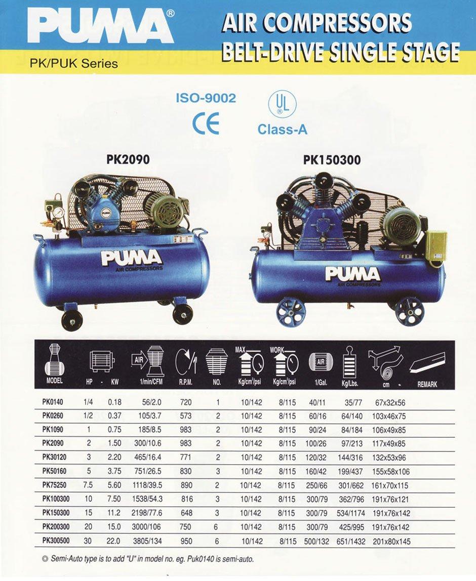puma air compressor. puma air compressor belt-drive single stage c/w jkj certificate puma
