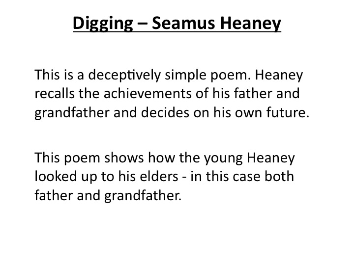 seamus heaney analysis essay Free essay: death of a naturalist analysis title dramatic evokes sadness – heaney's childhood innocence is lost metaphorical death – 'death of.