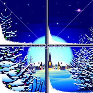 christmas scenery through a window wallpaper