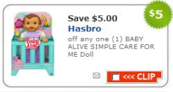 image about Alive Printable Coupon identified as Printable Toy Discount coupons \u003d Cost-free Kid Alive Doll at Concentrate