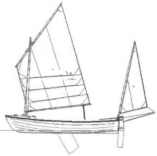 Designer's sketch of sailing boat I'm building