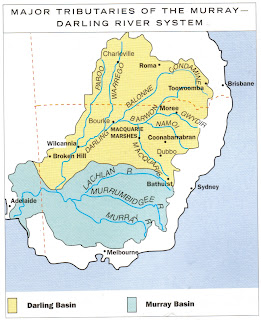 Map shows the extent of the Murray-Darling Basin