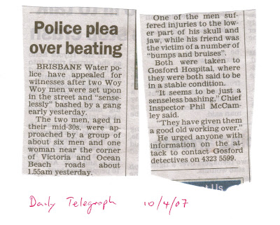 Image shows a newspaper clipping about the bashing