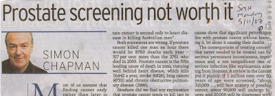 Newspaper clipping shows Sydney Morning Herald article by Professor Simon Chapman headed, Prostate screening not worth it