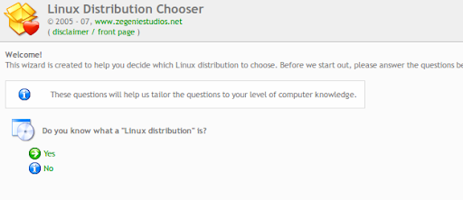 linux distribution chooser