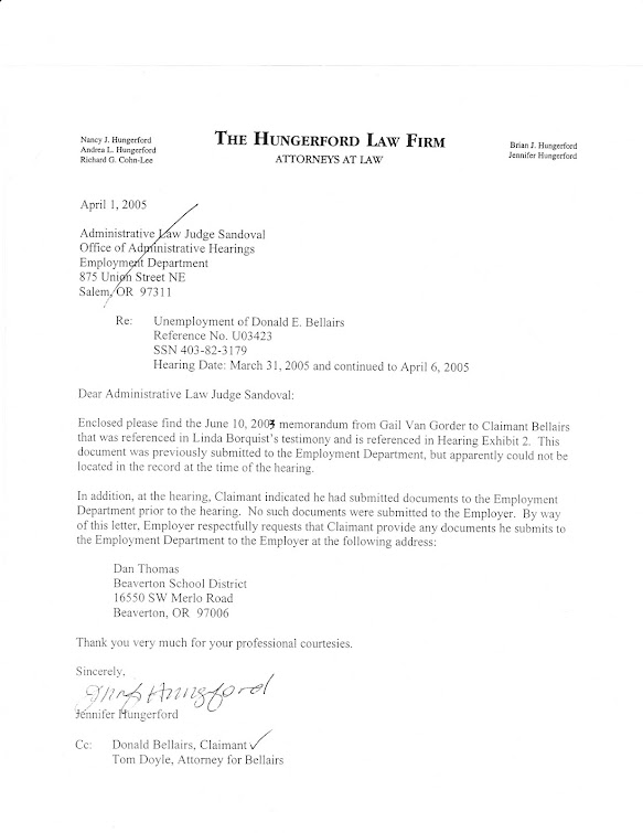 Letter from BSD attorney Hungerford to ALJ Sandoval, who decided for teacher in unemployment claim.