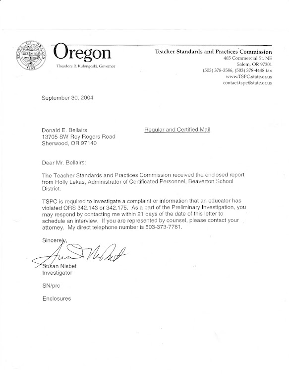 "September 2004 letter from Nisbet to OEA member announcing beginning of  TSPC ""investigation"""